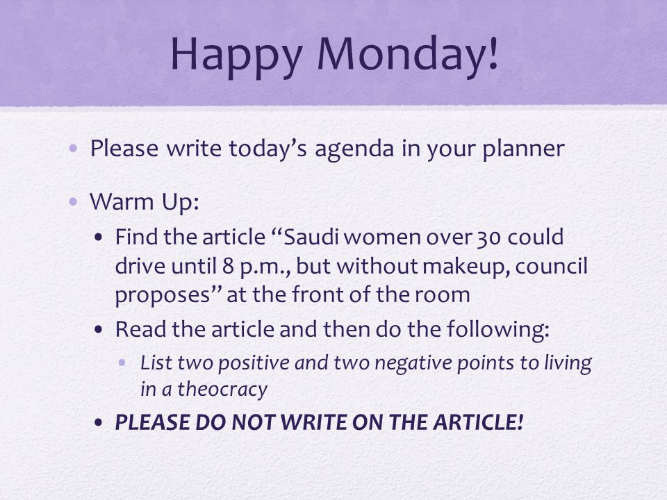 Happy Monday! Please write today's agenda in your planner Warm Up: