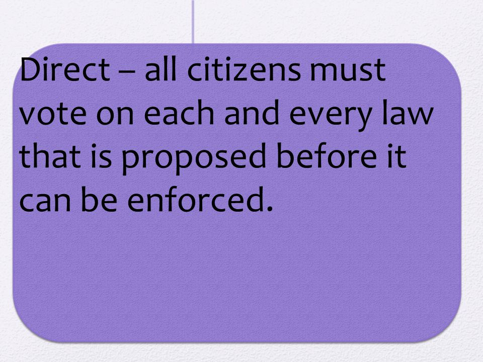 Direct – all citizens must vote on each and every law that is proposed before it can be enforced.