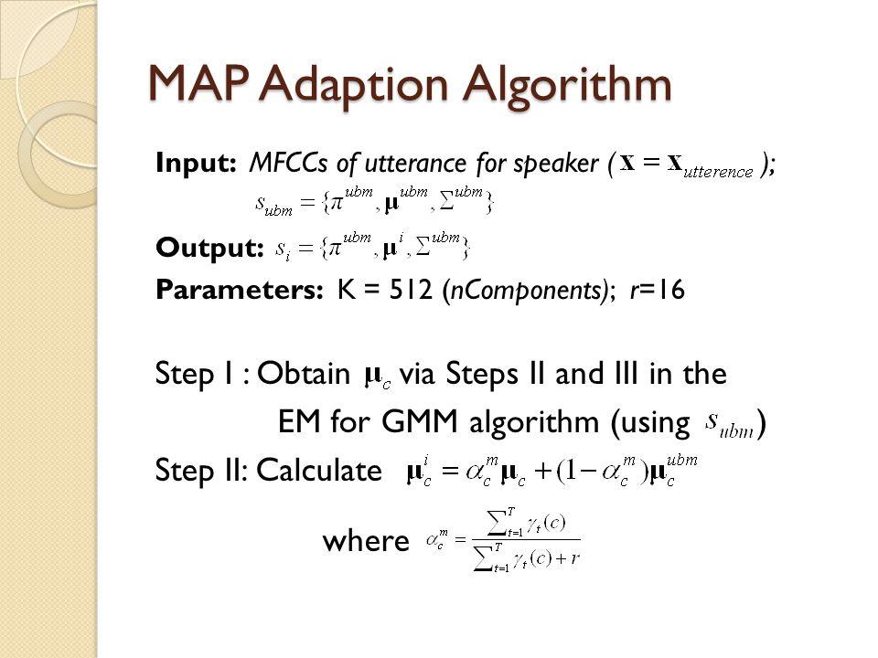 MAP Adaption Algorithm