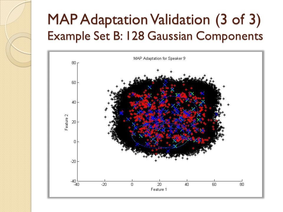 MAP Adaptation Validation (3 of 3) Example Set B: 128 Gaussian Components