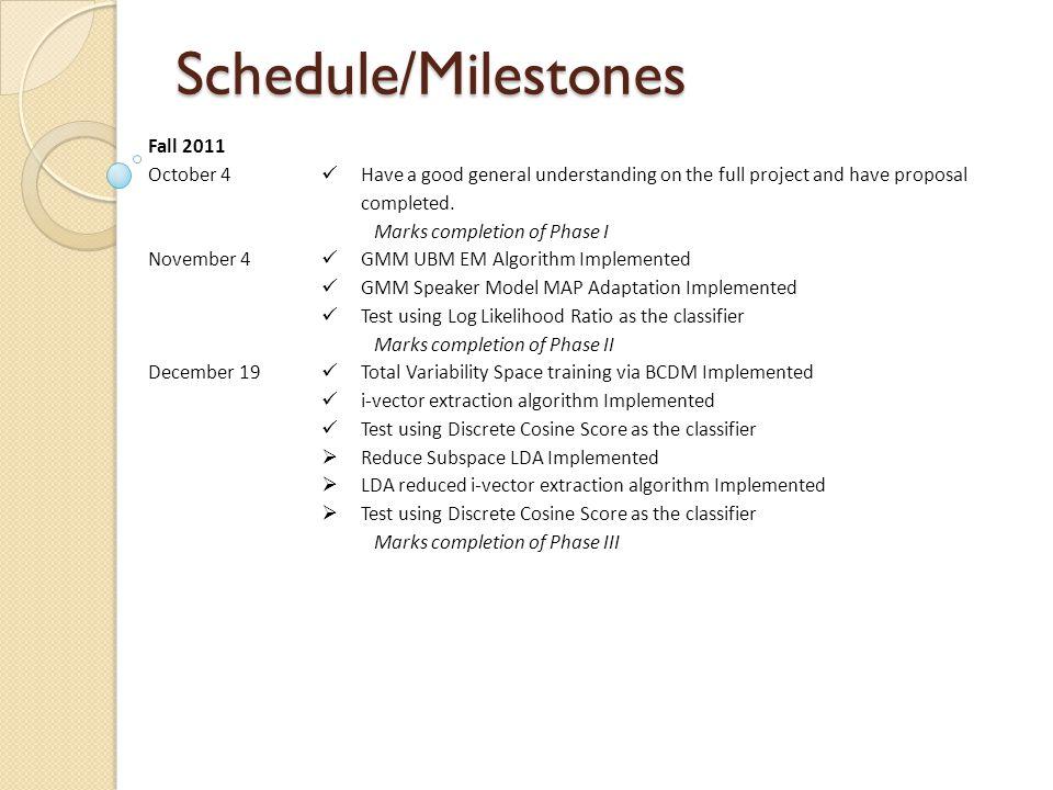 Schedule/Milestones Fall 2011 October 4