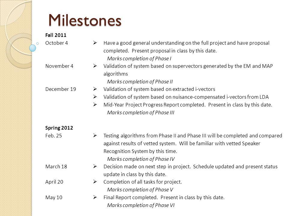 Milestones Fall 2011 October 4