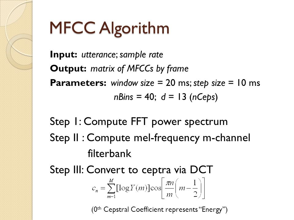 MFCC Algorithm Step 1: Compute FFT power spectrum