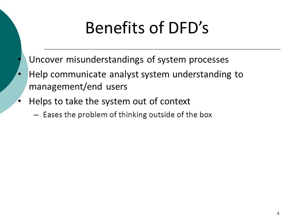 Benefits of DFD's Uncover misunderstandings of system processes