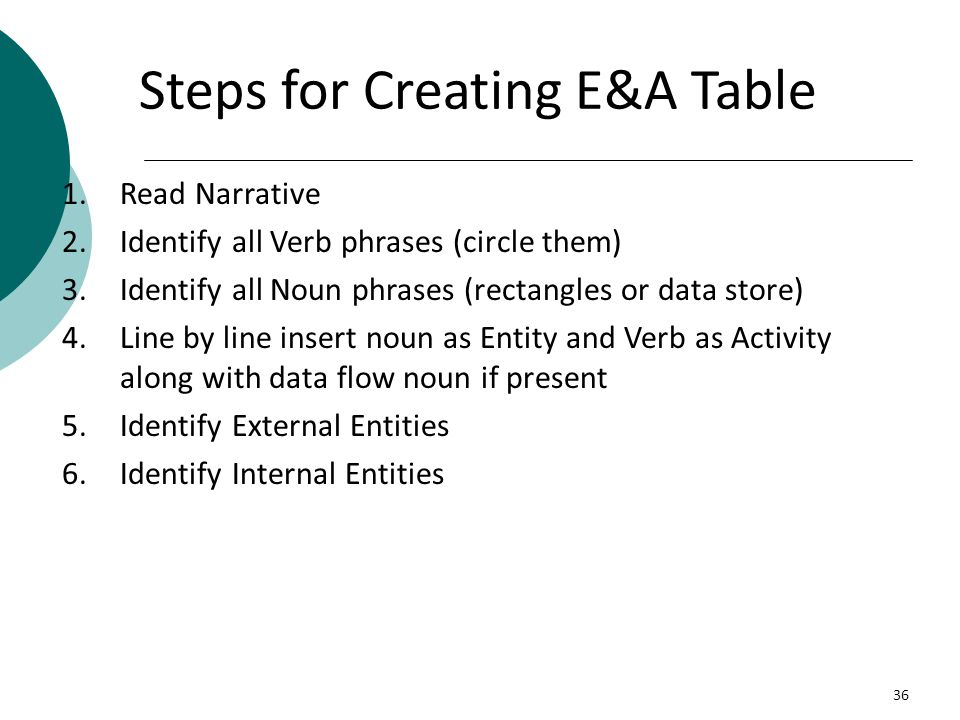 Steps for Creating E&A Table