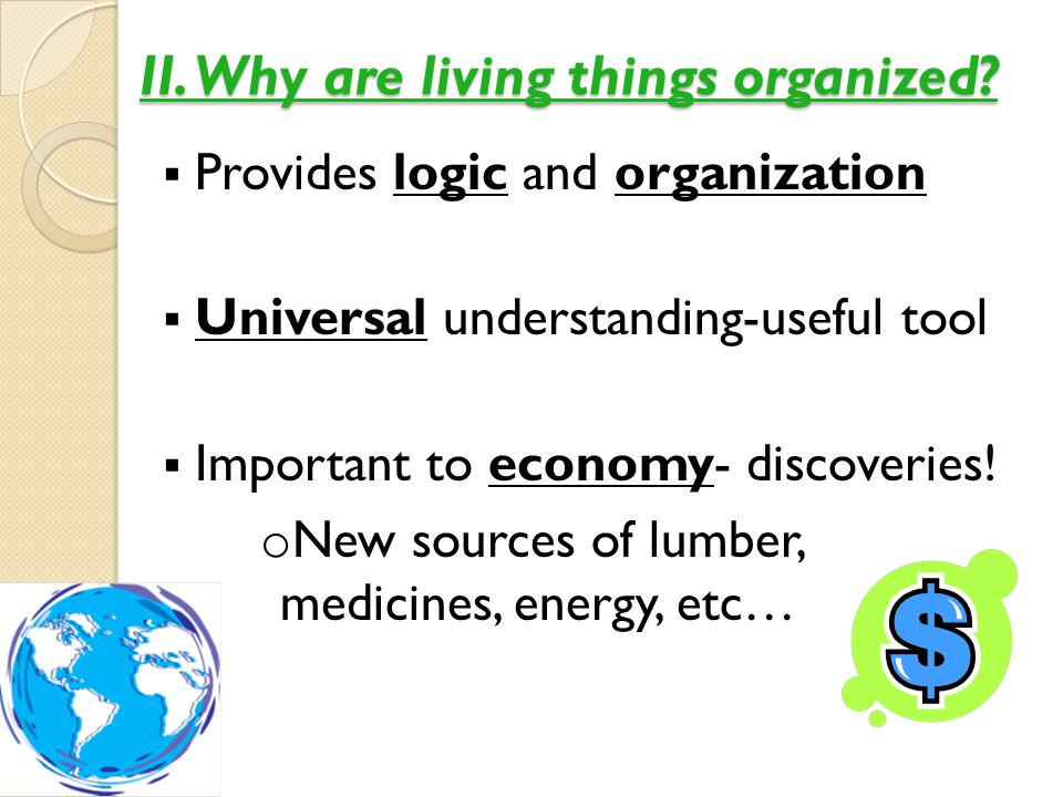 II. Why are living things organized