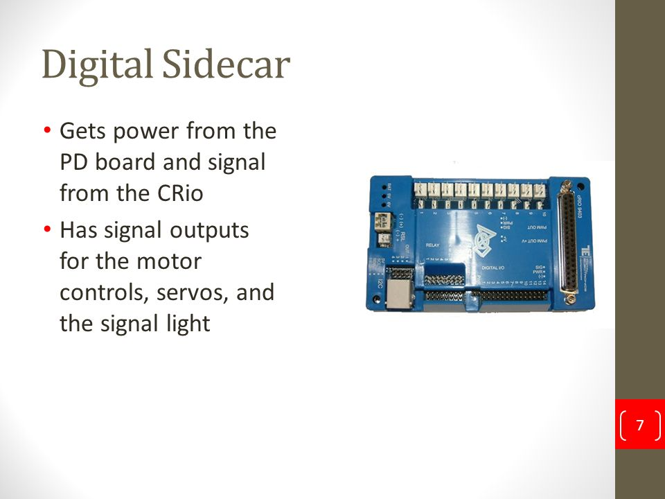 Digital Sidecar Gets power from the PD board and signal from the CRio