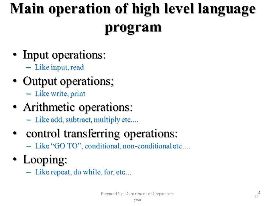 Main operation of high level language program
