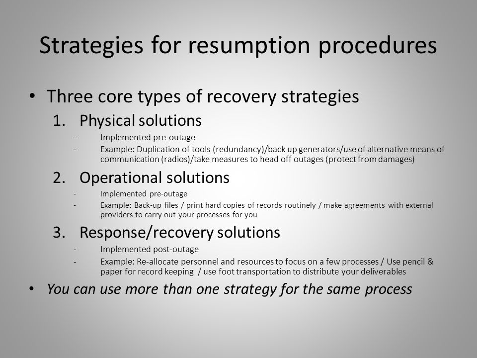 Strategies for resumption procedures