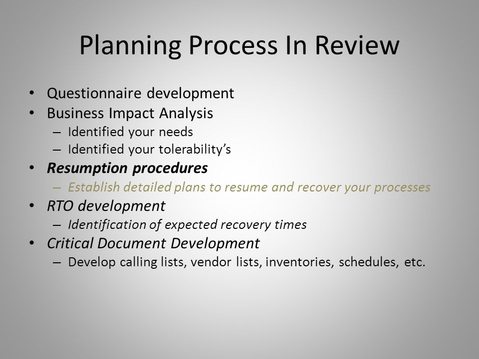 Planning Process In Review