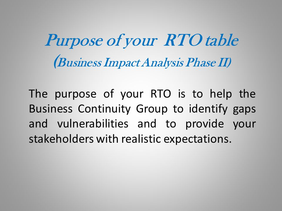 Purpose of your RTO table (Business Impact Analysis Phase II)