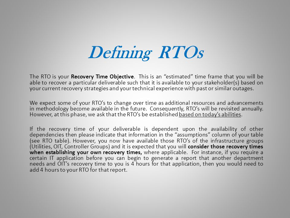 Defining RTOs