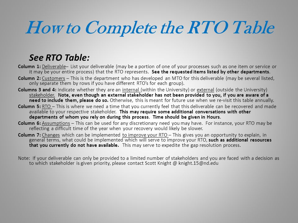 How to Complete the RTO Table
