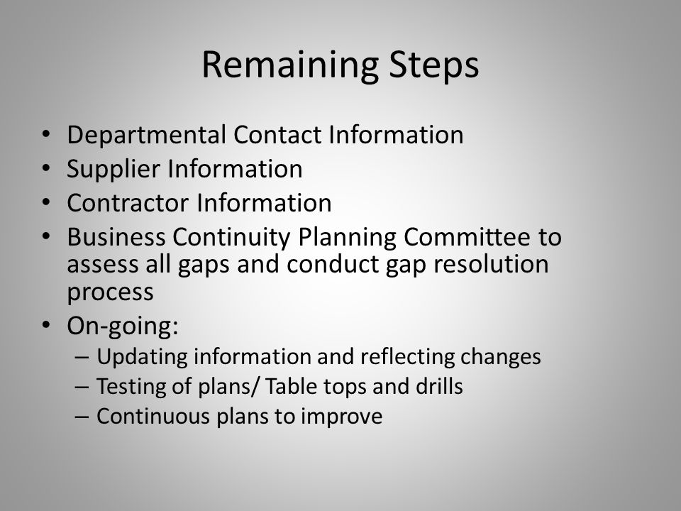 Remaining Steps Departmental Contact Information. Supplier Information. Contractor Information.