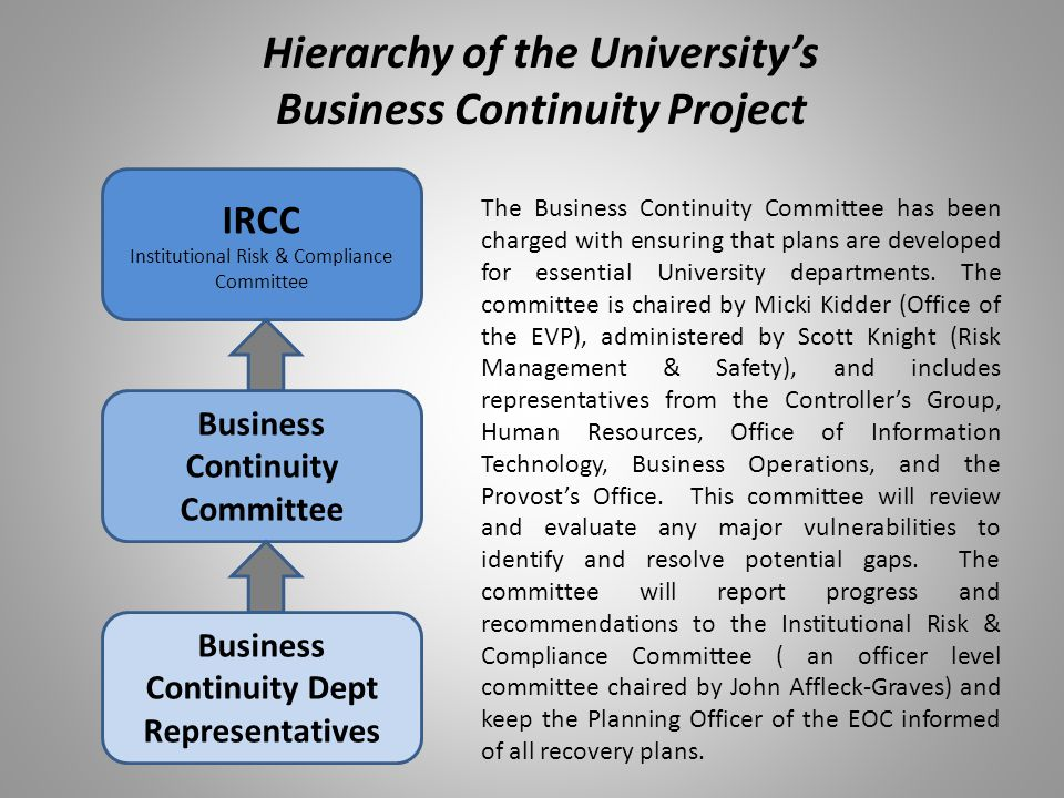 Hierarchy of the University's Business Continuity Project