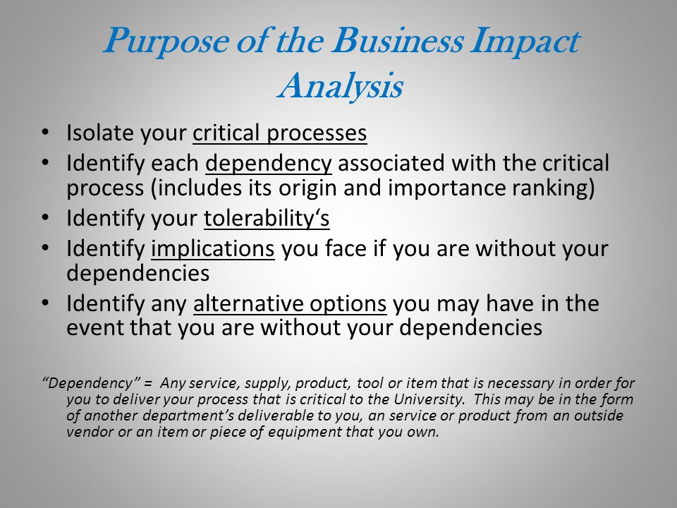Purpose of the Business Impact Analysis