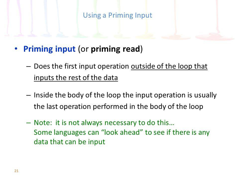 Priming input (or priming read)