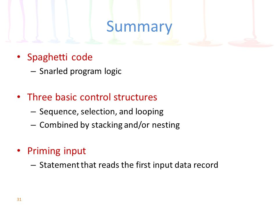 Summary Spaghetti code Three basic control structures Priming input