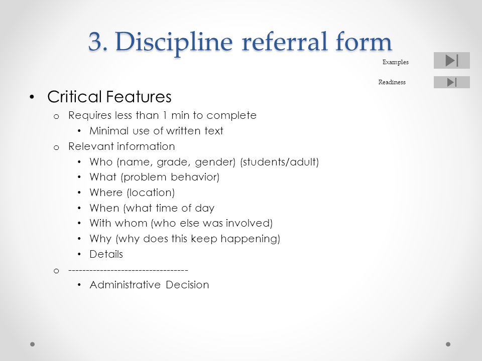 3. Discipline referral form
