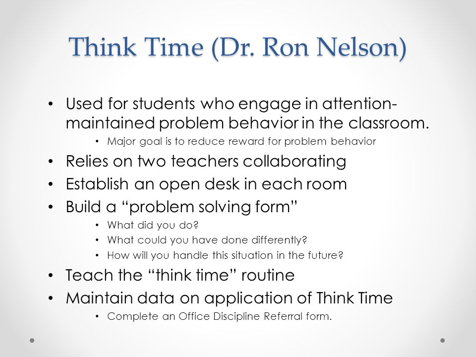 Think Time (Dr. Ron Nelson)