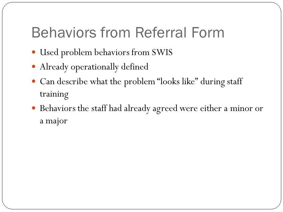 Behaviors from Referral Form
