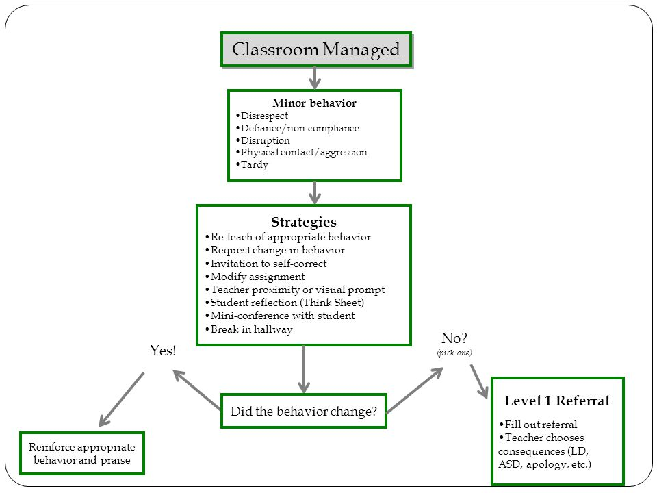 Classroom Managed Strategies No Yes! Level 1 Referral