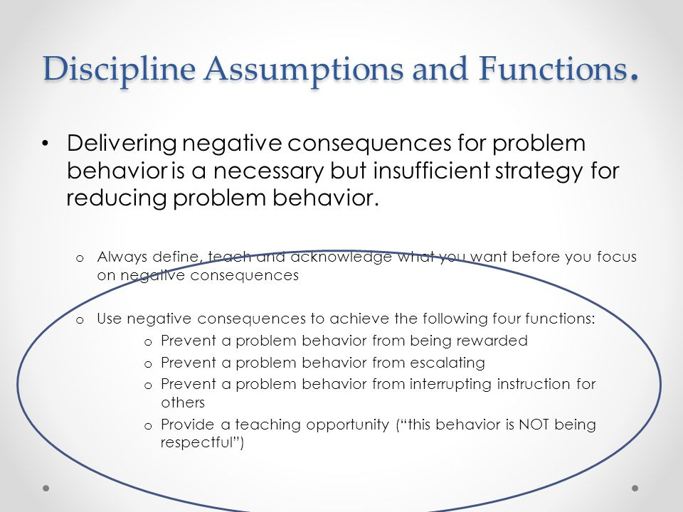 Discipline Assumptions and Functions.