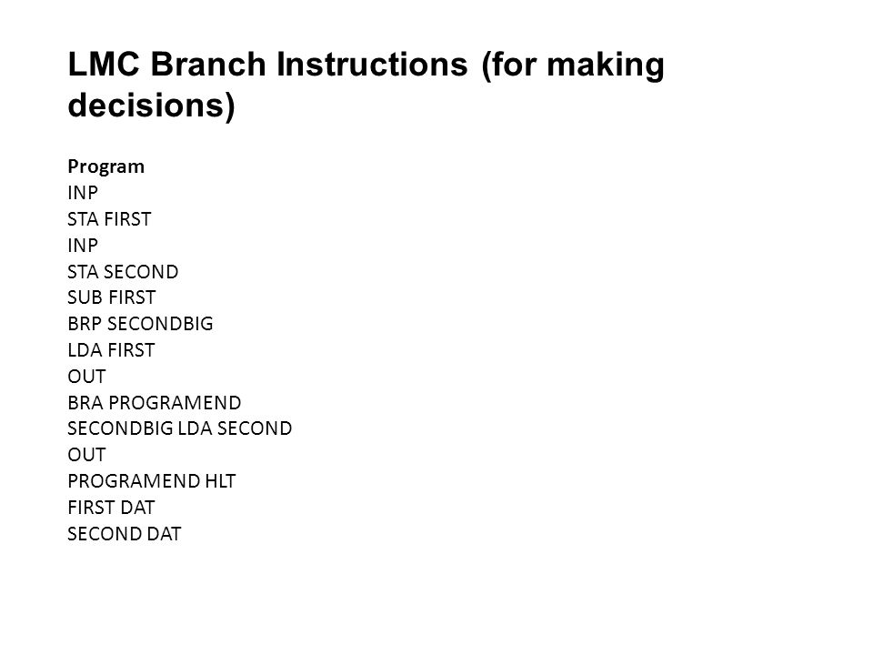LMC Branch Instructions (for making decisions)