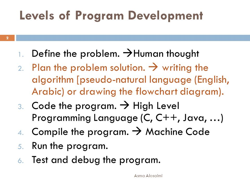 Levels of Program Development