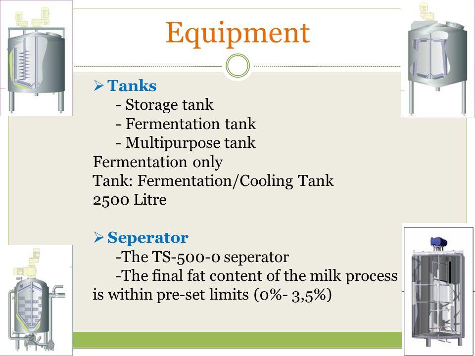 Equipment Tanks - Storage tank - Fermentation tank - Multipurpose tank