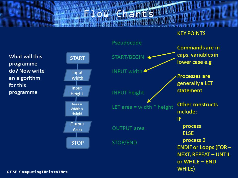 Flow Charts KEY POINTS. Commands are in caps, variables in lower case e.g. Processes are generally a LET statement.