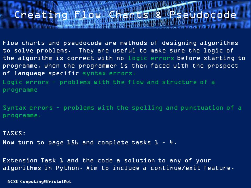 Creating Flow Charts & Pseudocode