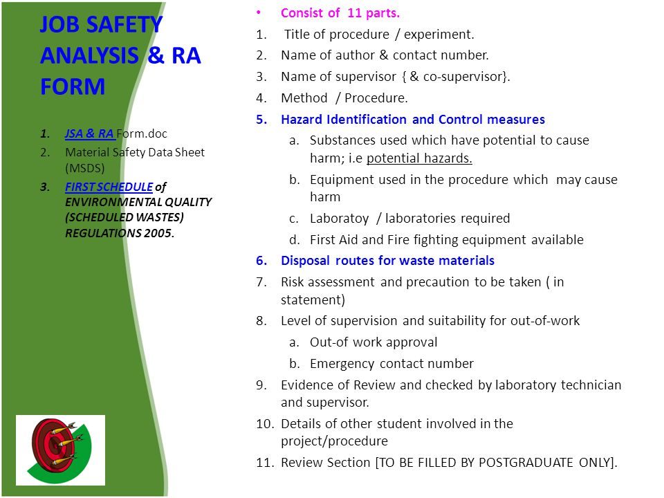 JOB SAFETY ANALYSIS & RA FORM