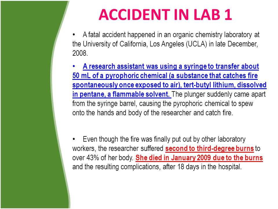 ACCIDENT IN LAB 1