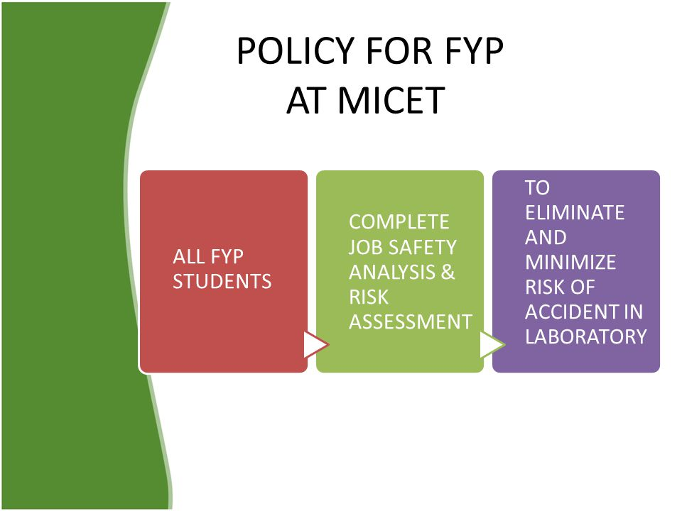 POLICY FOR FYP AT MICET ALL FYP STUDENTS. COMPLETE JOB SAFETY ANALYSIS & RISK ASSESSMENT.