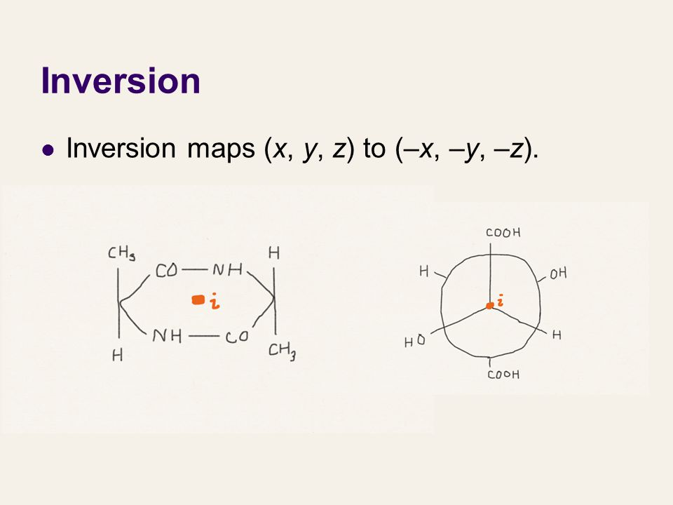 Inversion Inversion maps (x, y, z) to (–x, –y, –z).