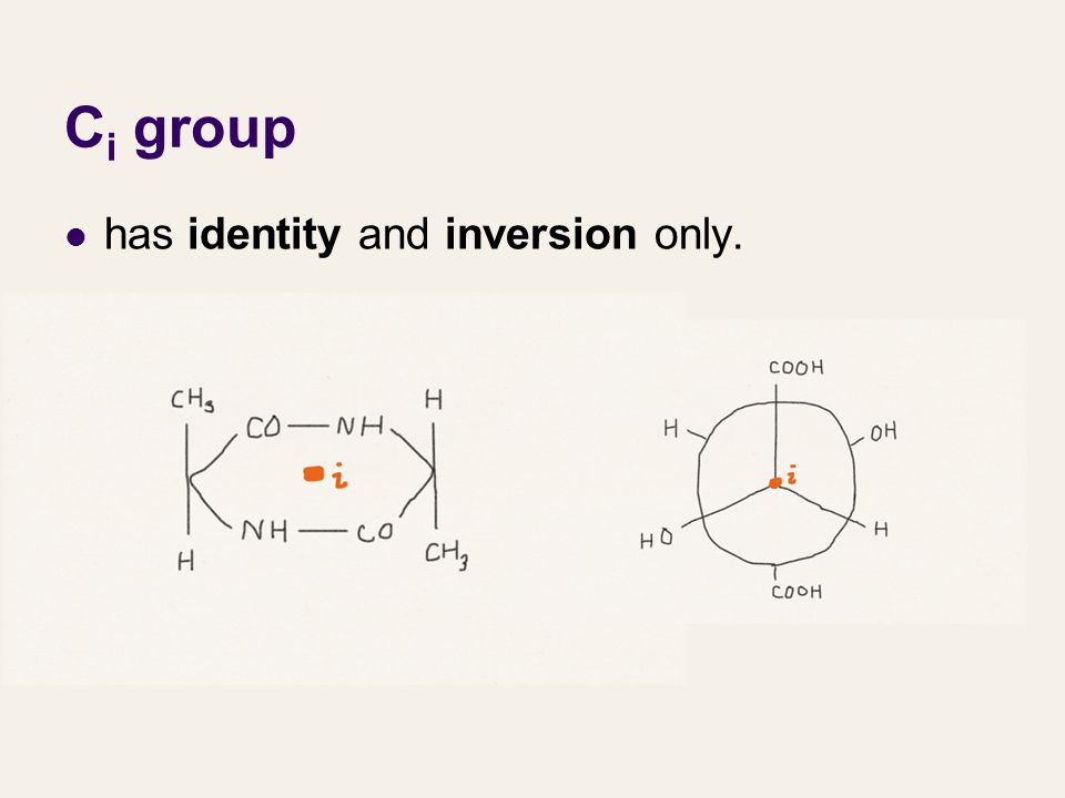 Ci group has identity and inversion only.