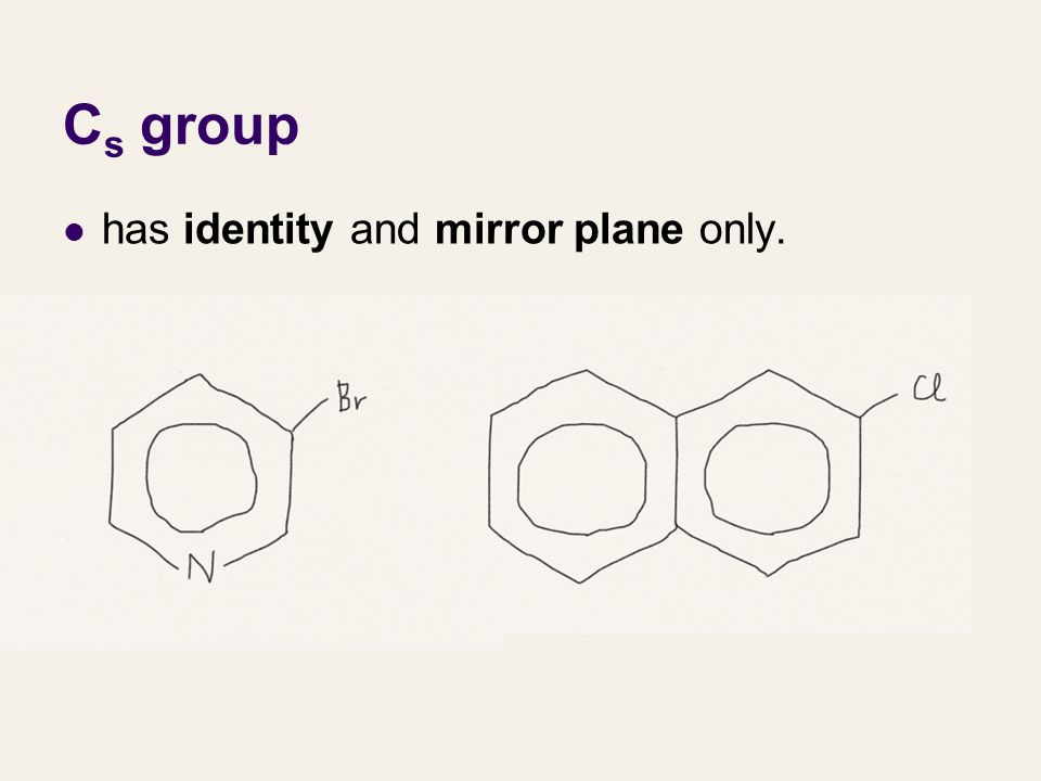 Cs group has identity and mirror plane only.