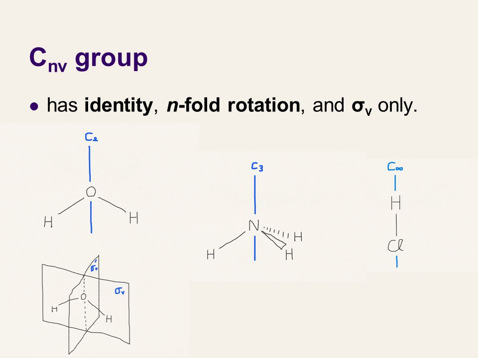 Cnv group has identity, n-fold rotation, and σv only.