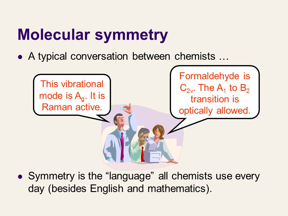 Molecular symmetry A typical conversation between chemists …