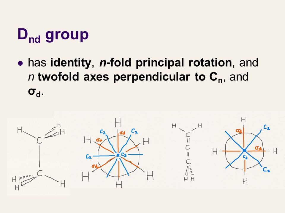 Dnd group has identity, n-fold principal rotation, and n twofold axes perpendicular to Cn, and σd.