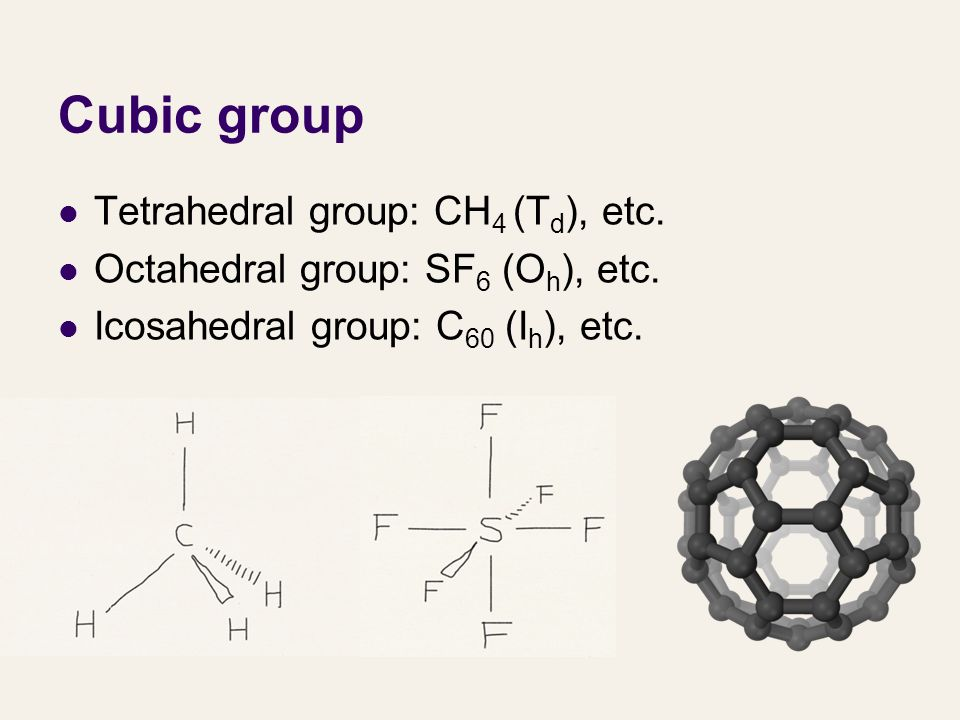 Cubic group Tetrahedral group: CH4 (Td), etc.
