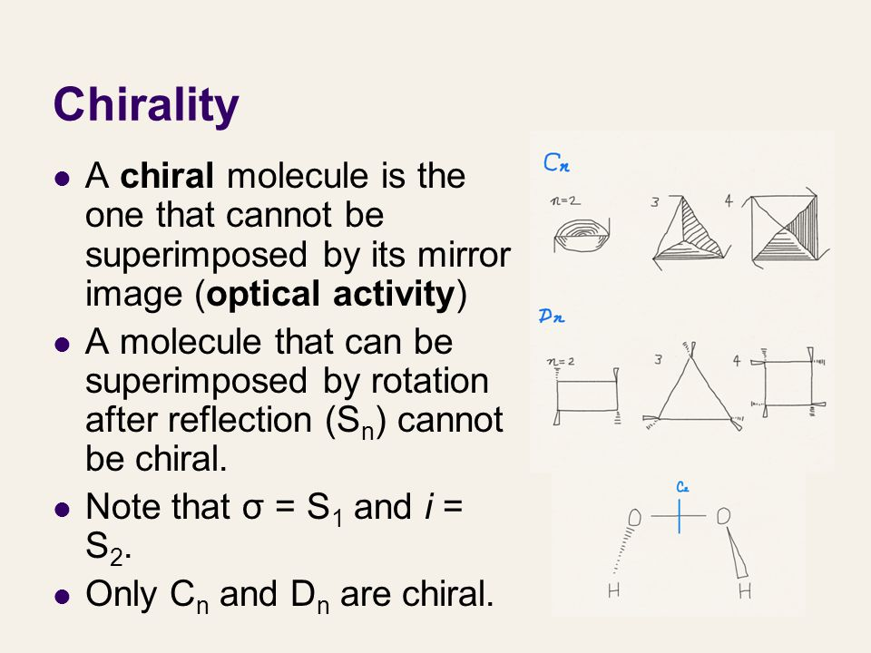Chirality A chiral molecule is the one that cannot be superimposed by its mirror image (optical activity)
