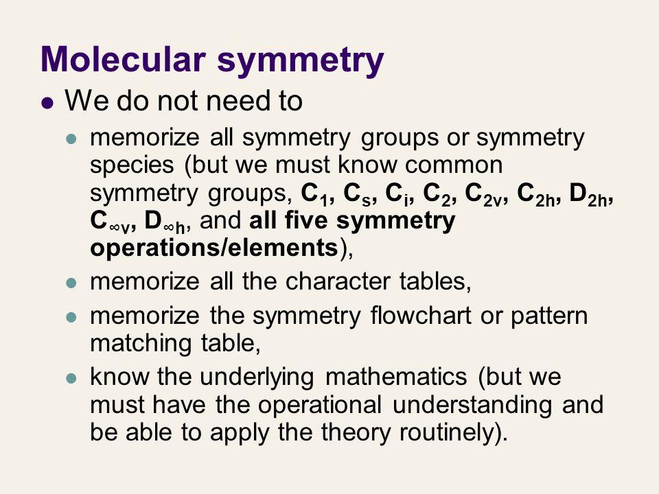Molecular symmetry We do not need to