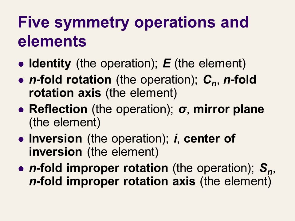 Five symmetry operations and elements
