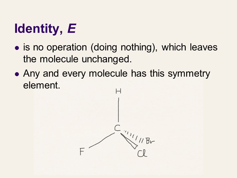 Identity, E is no operation (doing nothing), which leaves the molecule unchanged.