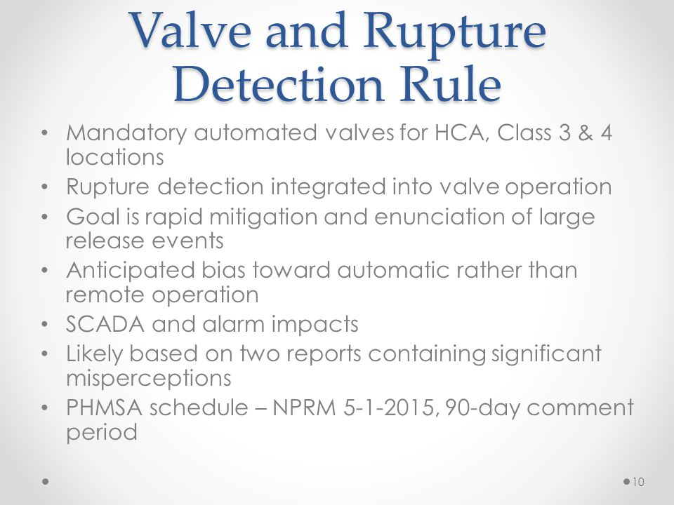 Valve and Rupture Detection Rule