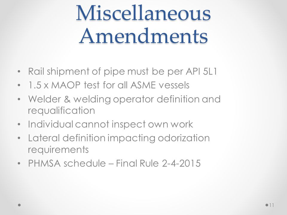 Miscellaneous Amendments