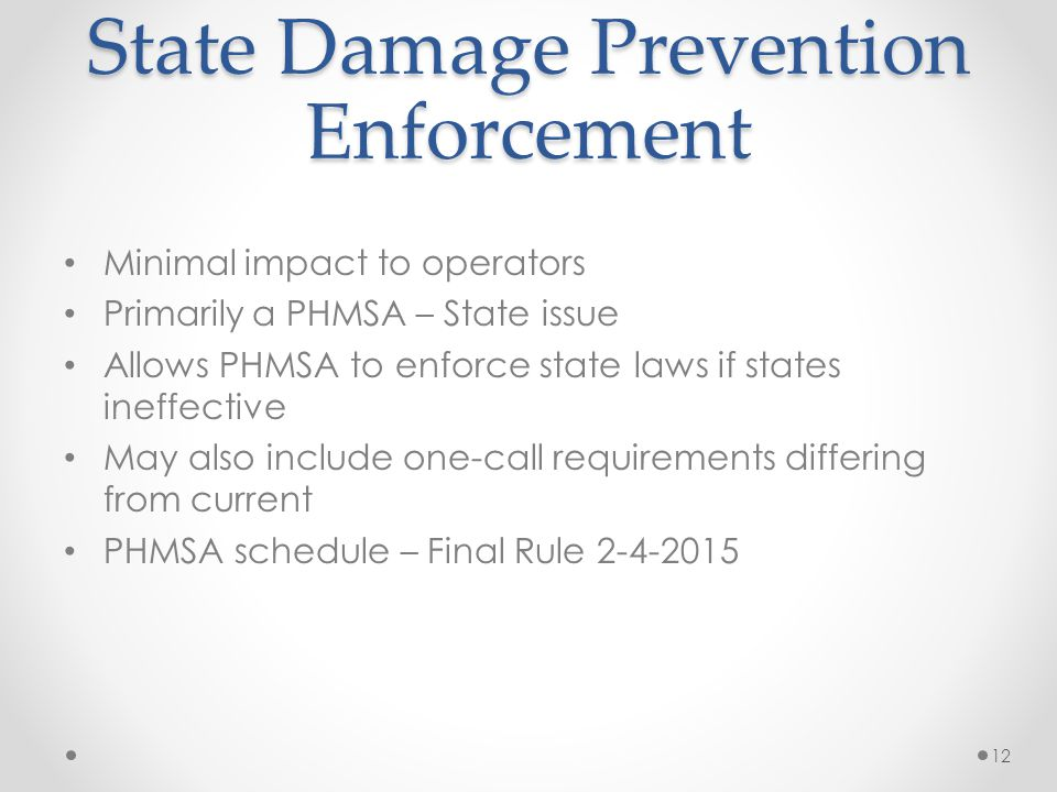 State Damage Prevention Enforcement