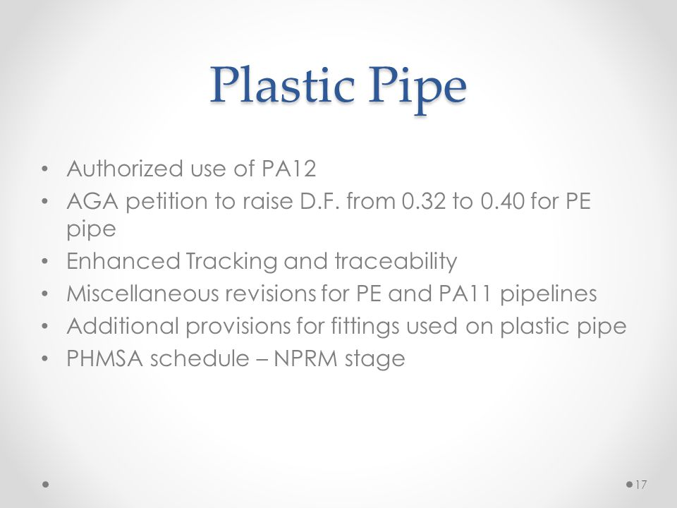Plastic Pipe Authorized use of PA12